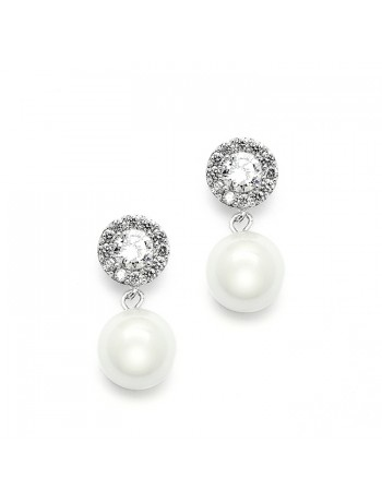 Framed CZ Bridal Earrings with 10mm Soft Cream Pearl Drop
