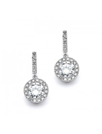 Top Selling Pave Wedding or Bridesmaids Earrings with Brilliant CZ Drop