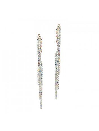 Popular Dangling AB Rhinestone Prom Earrings with Graceful Twist