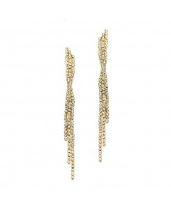 Popular Dangling Gold Rhinestone Prom Earrings with Graceful Twist