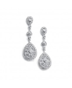 Vintage Etched Cubic Zirconia Dangle Bridal Earrings
