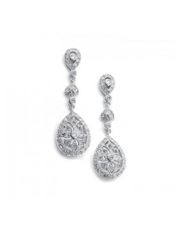Vintage Etched Cubic Zirconia Dangle Bridal Earrings