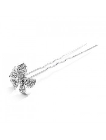 Pave Crystal Petals Hair Stick Pin for Weddings or Proms