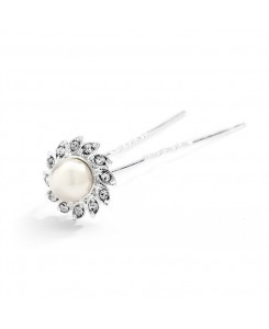 Popular Crystal & Soft Creme Pearl Flower Bridal Hair Stick