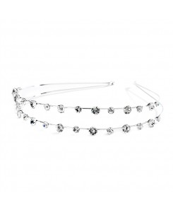 2-Row Prom or Wedding Headband with Round Crystals