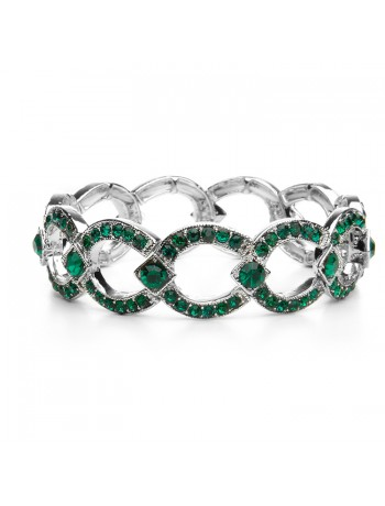 Emerald Crystal Art Deco Links Bracelet