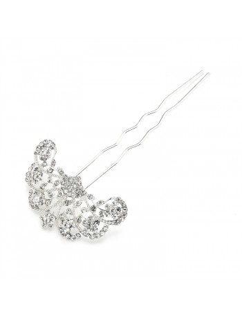 Glamorous Gatsby Fan Shaped Crystal Prom or Wedding Hair Stick Pin