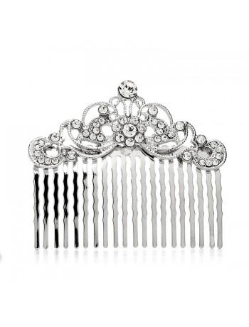 Vintage Crystal Swirls Bridal or Prom Hair Comb