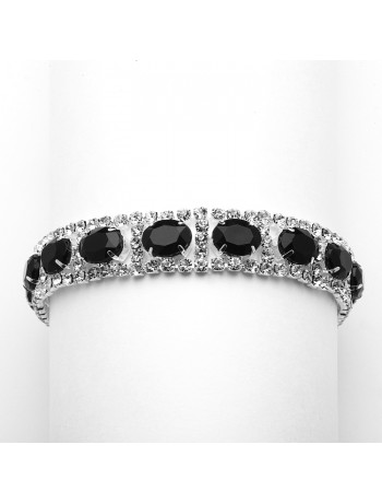 Rhinestone Prom or Bridesmaids Bracelet with Jet Black Ovals