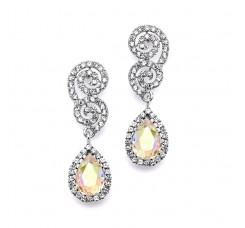 Best Selling Crystal Scroll Wedding or Prom Earrings with AB Teardrop