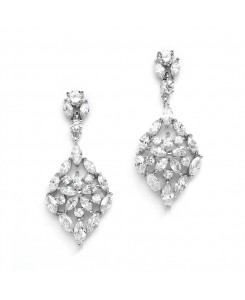Glamorous Cubic Zirconia Wedding Earrings with Marquis Mosaic