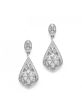 Sophisticated Art Deco CZ Wedding Earrings