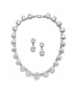 Regal Wedding Necklace Set with Round CZ Stones