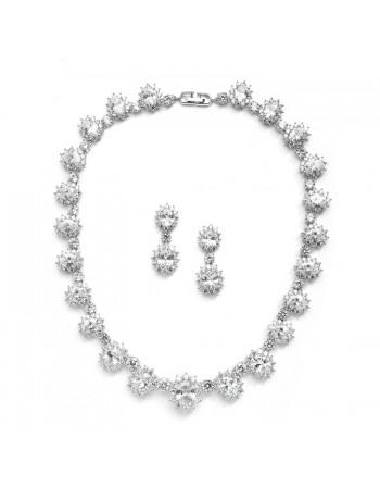 Regal Wedding Necklace Set with Round CZ Stones