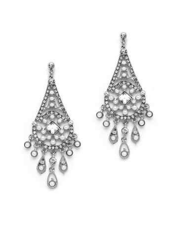 Art Deco Bridal Chandelier Earrings with Inlaid Dainty Pearls