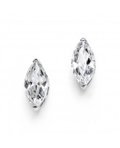Cubic Zirconia Marquis Stud Earrings