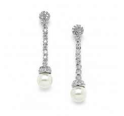 Brillant CZ Dangle Wedding Earrings with Soft Ivory Pearls