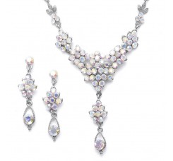 AB Crystal Cluster Necklace Set with Drop