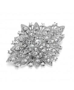 Silver Vintage Floral Bridal Brooch