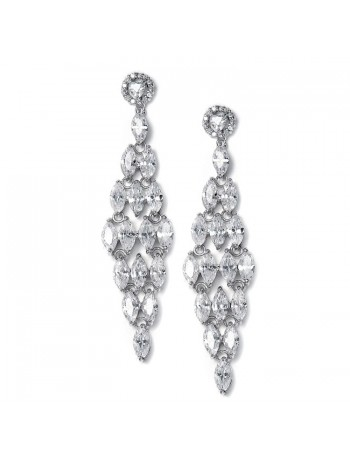 CZ Bridal Chandelier Earrings with Marquis