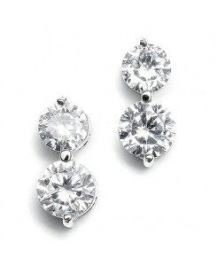 Double Rounds Cubic Zirconia Wedding Earrings