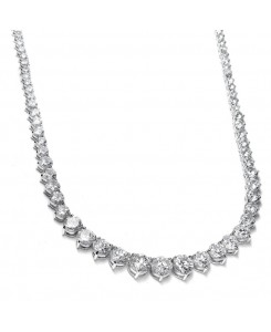 Graduated Cubic Zirconia Tennis Necklace