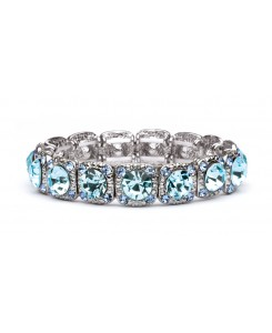 Bridesmaid or Prom Stretch Bracelet with Aqua Crystals