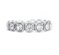 Bridal or Prom Stretch Bracelet with Solitaires