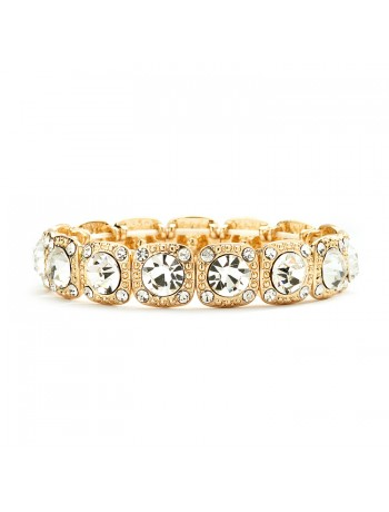 Gold Bridal or Prom Stretch Bracelet with Crystals