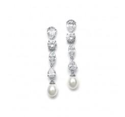 Modern Multi Shape CZ Drop Earrings with Freshwater Pearl