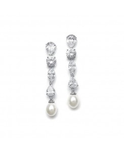 Modern Multi Shape CZ Drop Earrings with Freshwater Pearl