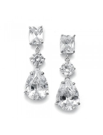 Shimmering CZ Earrings with Emerald Cut Top and Pear shaped Drop