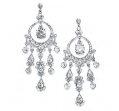 Alluring Genuine Austrian Crystal Chandelier Bridal Earrings
