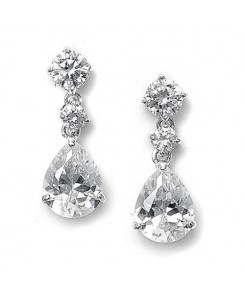 Classic CZ Teardrop Wedding Earrings