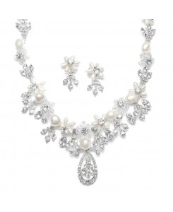 Freshwater Pearl Cluster Bridal Necklace Set
