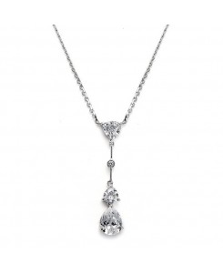 Cubic Zirconia Multi Shaped Dangle Necklace