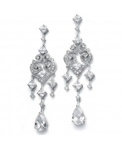 Wholesale Cubic Zirconia Bridal Chandelier Earrings with Pear Dangles