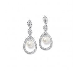 Pave CZ Wedding Earrings with Caged Pearl