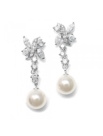 Luxurious Pearl and CZ Bridal Earrings