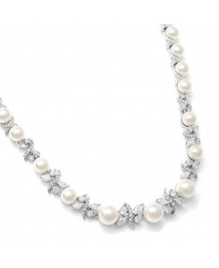 Luxurious Pearl and CZ Bridal Necklace