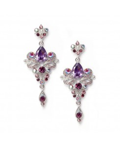 Art Nouveau Violet Cubic Zirconia Bridesmaids or Prom Earrings