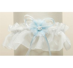 Organza Bridal Garters with Baby Pearl Cluster - Ivory with Blue