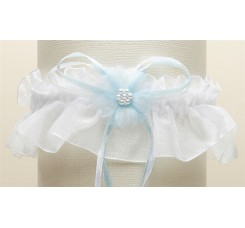 Organza Bridal Garters with Baby Pearl Cluster - White with Blue