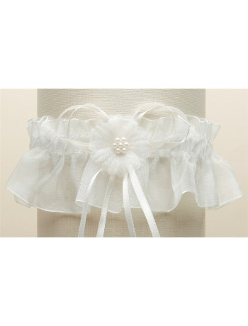 Organza Bridal Garters with Baby Pearl Cluster - Ivory