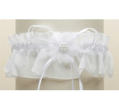 Organza Bridal Garters with Baby Pearl Cluster - White