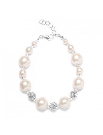 Pearl Wedding Bracelet with Rhinestone Fireballs