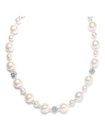 Pearl Wedding Necklace with Rhinestone Fireballs