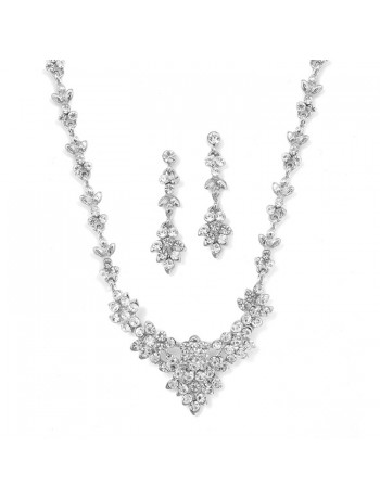 Crystal Cluster Bridal or Bridesmaid Necklace Set