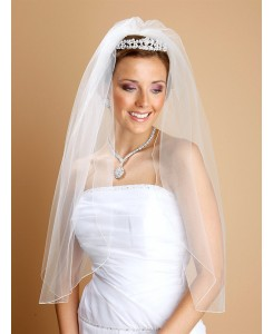 One Layer Bridal Veils with Pencil Edging