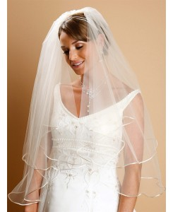 Two Tier Circular Cut Satin Corded Edge Bridal Veils